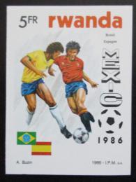 Poštovní známka Rwanda 1986 MS ve fotbale neperf. Mi# 1342 B