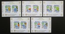 Poštovní známky Pobøeží Slonoviny 2005 Evropa CEPT, 50. výroèí, neperf. Mi# Block 169-73 B Kat 80€