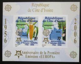 Poštovní známky Pobøeží Slonoviny 2005 Evropa CEPT, 50. výroèí, neperf. Mi# Block 169 B Kat 16€