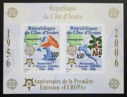Poštovní známky Pobøeží Slonoviny 2005 Evropa CEPT, 50. výroèí, neperf. Mi# Block 171 B Kat 16€