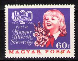 Poštovní známka Maïarsko 1966 Mladí pionýøi Mi# 2251