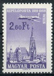 Poštovní známka Maïarsko 1968 Letadlo nad mìstem Mi# 2421