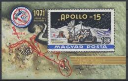 Poštovní známka Maïarsko 1972 Projekt Apollo 15 Mi# Block 87