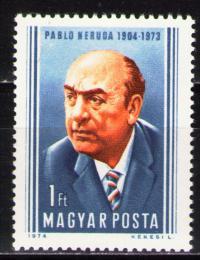 Poštovní známka Maïarsko 1974 Pablo Neruda, básník Mi# 2980