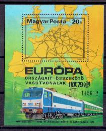 Poštovní známka Maïarsko 1979 Lokomotiva Mi# Block 137