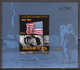 Poštovní známka Maïarsko 1989 První let na Mìsíc Mi# Block 204