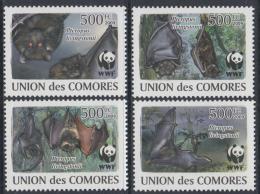 Poštovní známky Komory 2009 Netopýøi, WWF Mi# 2212-15