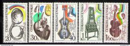 Poštovní známky Èeskoslovensko 1974 Hudební nástroje Mi# 2203-07 Po# 2085-89