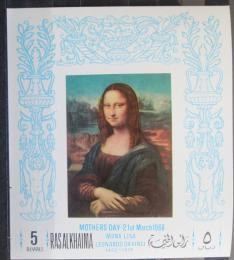 Poštovní známka Rás al-Chajma 1968 Mona Lisa neperf. Mi# Block 40 B 10€