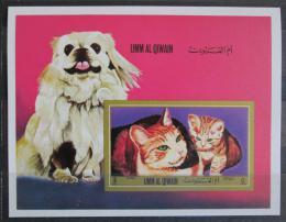 Poštovní známka Umm al-Kuvajn 1972 Pes a koèky Mi# Block 55