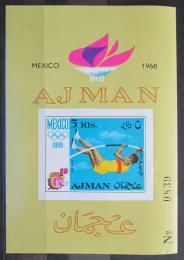 Poštovní známka Adžmán 1968 LOH Mexiko neperf. Mi# Block 32 B Kat 8.50€