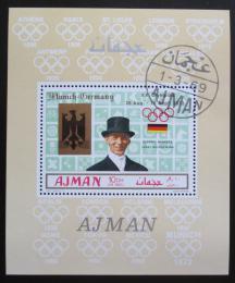 Poštovní známka Adžmán 1969 LOH Mexiko, Josef Neckermann Mi# 451 A Block