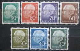 Poštovní známky Nìmecko 1956-57 Prezident Heuss Mi# 259-65 Kat 40€