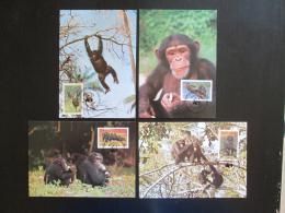 Maxikarty Sierra Leone 1983 Šimpanzi, WWF 001 Mi# 713-16
