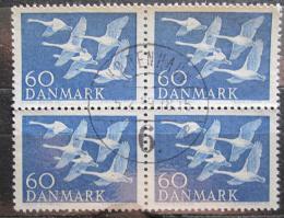 Poštovní známky Dánsko 1956 Labu� zpìvná ètyøblok Mi# 365