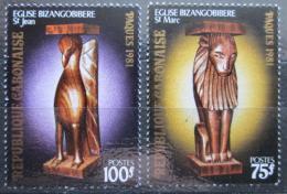 Poštovní známky Gabon 1981 Velikonoce, døevoøezby Mi# 767-68