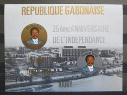 Poštovní známka Gabon 1985 Prezident Bongo Mi# Block 53 Kat 14€