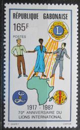 Poštovní známka Gabon 1987 Lions Intl., 70. výroèí Mi# 993