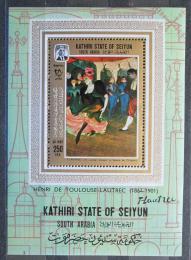 Poštovní známka Aden Kathiri 1967 Umìní, Toulouse-Lautrec Mi# Block 9 A Kat 16€