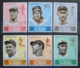 Poštovní známky Adžmán 1969 Baseballoví hráèi Mi# 388-93
