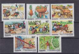 Poštovní známky Rwanda 1985 Zemìdìlská produkce Mi# 1297-1304