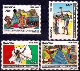 Poštovní známky Rwanda 1990 Revoluce, 30. výroèí Mi# 1425-28 Kat 8.50€