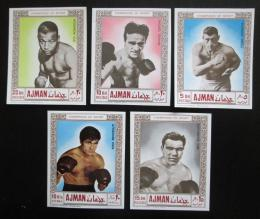 Poštovní známky Adžmán 1969 Boxeøi neperf. Mi# 382-86 B Kat 9€