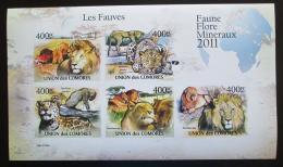 Poštovní známky Komory 2011 Koèkovité šelmy neperf. Mi# 3043-47 B Bogen