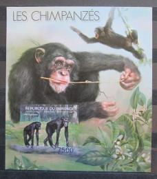 Poštovní známka Burundi 2012 Šimpanzi neperf., vzácné Mi# Block 295 B