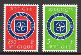 Poštovní známky Belgie 1959 NATO, 10. výroèí Mi# 1147-48