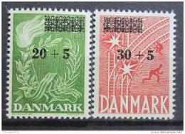 Poštovní známky Dánsko 1955 Boj za svobodu pøetisk Mi# 353-54