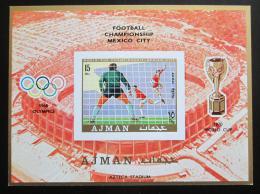 Poštovní známka Adžmán 1970 MS ve fotbale neperf. Mi# Block 189 B Kat 13€
