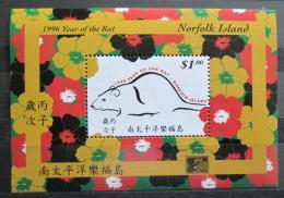 Poštovní známka Norfolk 1996 Èínský nový rok, rok krysy Mi# Block 16