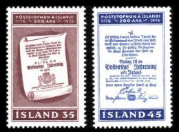 Poštovní známky Island 1976 Poštovní služby, 200. výroèí Mi# 516-17
