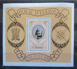 Poštovní známka Ghana 1981 Katedrála svatého Pavla, Londýn Mi# Block 90
