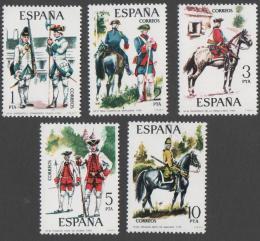 Poštovní známky Španìlsko 1975 Vojenské uniformy Mi# 2130-34 Kat 6€