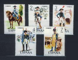 Poštovní známky Španìlsko 1975 Vojenské uniformy Mi# 2169-73