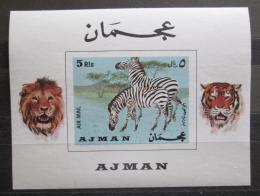 Poštovní známka Adžmán 1969 Zebry Mi# Block 111