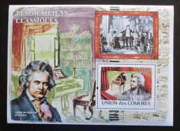 Poštovní známka Komory 2009 Wolfgang Amadeus Mozart Mi# Block 453 Kat 15€