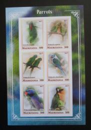 Poštovní známky Mauritánie 2017 Papoušci neperf. Mi# N/N