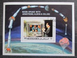 Poštovní známka Manáma 1971 Prezident Nixon a posádka Apollo 11 Mi# Block 172