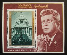 Poštovní známka Manáma 1971 Prezident Kennedy a Bílý dùm Mi# Block 159