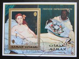 Poštovní známka Adžmán 1971 Umìní, Manet Mi# Block 274 A