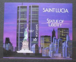 Poštovní známka Svatá Lucie 1987 Socha svobody, 100. výroèí Mi# Block 53