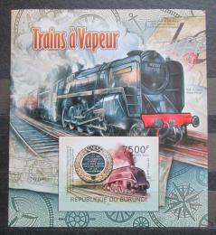 Poštovní známka Burundi 2012 Parní lokomotivy neperf. Mi# Block 220 B