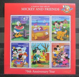 Poštovní známky Ghana 1998 Disney postavièky pøetisk Mi# 2691-96