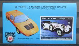Poštovní známka Adžmán 1970 Závodní automobily Mi# Block 215