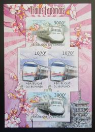 Poštovní známky Burundi 2012 Japonské lokomotivy neperf. Mi# 2454-55 Block