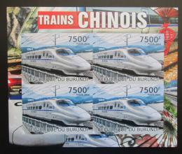 Poštovní známky Burundi 2012 Èínské lokomotivy neperf. Mi# Block 223 B