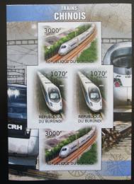 Poštovní známky Burundi 2012 Èínské lokomotivy neperf. Mi# 2449,2451 B